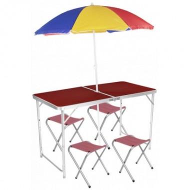 Стол складной для пикника KSP 4 стула зонт 180 см