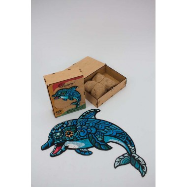 Дерев'яний пазл Дельфін розмір А3 деталі 121 Original (d202120223000)