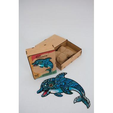 Деревянный пазл Дельфин размер А4 детали 84 Original (d202120221000)