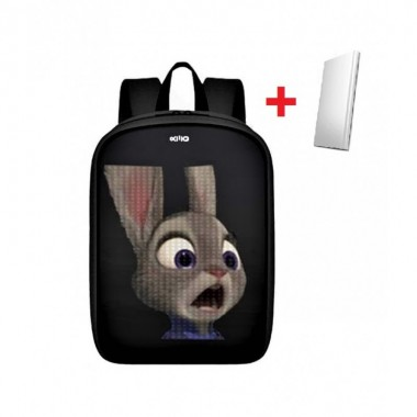 LED Рюкзак с анимационным дисплеем ID&ND A1 Led черный водостойкий + Powerbank в подарок Pro (dm114)