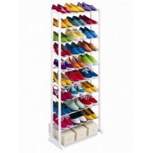Стойка органайзер полка для обуви Amazing Shoe Rack на 30 пар металлическая Белая Pro (dm516)