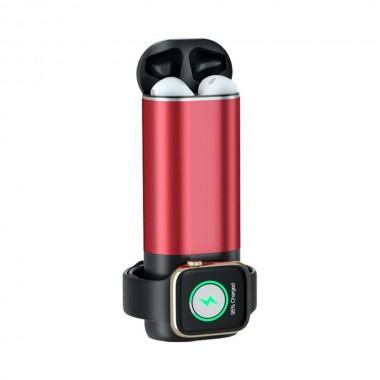 Power Bank 3 в 1 зарядное устройство Power для Iphone, Apple Watch и AirPods Красный Plus (dm116)