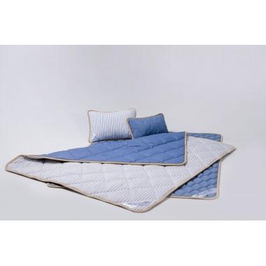 Комплект із вовни мериносів синій у смужку сімейний (Ковдра 140х200 2шт. + Подушки 40х60 2шт.)