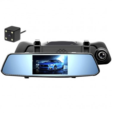 Видеорегистратор автомобильный Зеркало заднего вида DVR X10 c 2 камерами G-sensor Pro (dm230)