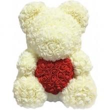Іграшка ведмедик KSP Bear 40 см з троянд Білий з серцем Pro (dm405)