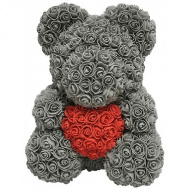 Игрушка мишка KSP Bear 40 см из роз Серый с сердцем Pro (dm409)