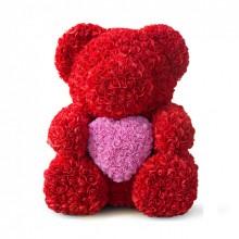 Іграшка ведмедик KSP Bear 40 см з троянд Червоний з серцем Pro (dm407)