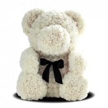 Игрушка мишка KSP Bear 25 см из роз Белый с лентой Pro (dm404)