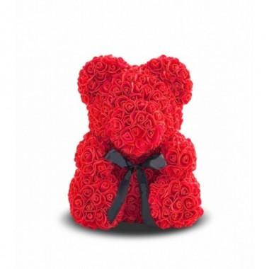 Іграшка ведмедик KSP Bear 25 см з троянд Червоний зі стрічкою Pro (dm406)