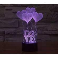 3D светильник-ночник LOVE 7 цветов с эффектом трехмерного изображения Pro (dm109)