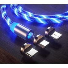 Магнитный кабель для зарядки KSP Luminous LED 3в1 светящийся Blue Original (mt276)