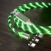 Магнитный кабель для зарядки KSP Luminous LED 3в1 светящийся Green Original (mt278)