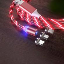 Магнитный кабель для зарядки KSP Luminous LED 3в1 светящийся Red Original (mt277)