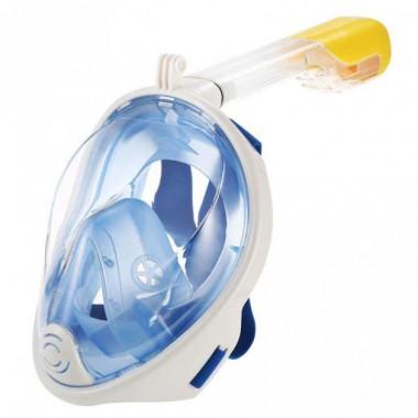 Полнолицевая панорамная маска для плавания Free Breath (L/XL) Голубая с креплением для камеры