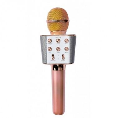 Беспроводной микрофон караоке колонка Wster WS-1688 Rose Bluetooth Plus (dm395)