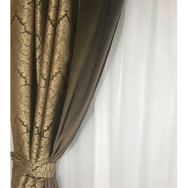 Комплект штор Natalka Барокко 210х260 2шт с подхватами Шоколадно-коричневый Plus (20202003)