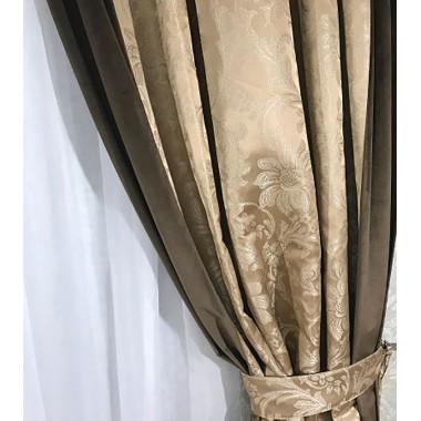 Комплект штор Natalka Элегант 210х260 2шт с подхватами Бежево-Шоколадный Plus (20202024)