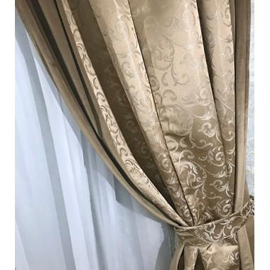 Комплект штор Natalka Элегант 210х260 2шт с подхватами Светло-коричневый Plus (20202032)