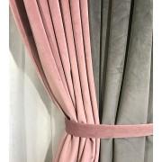 Комплект штор Natalka Фантазия 210х260 2шт с подхватами Розово-серый Plus (20202027)