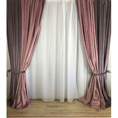 Комплект штор Natalka Фантазия 210х260 2шт с подхватами Розово-Дымчата Орхидея Plus (20202038)