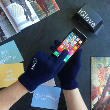 Рукавички iGlove сенсорні зимові темно-сині Original (20211001)