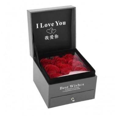 Подарункова коробка троянди з мила і відділення для прикрас Plus