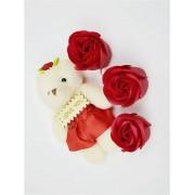 Подарунковий Набір троянди з мила і ведмедик Plus