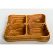 Менажница деревянная тарелка 250х250 мм Eripro Clover для дома пикника HoReCa Plus (20201066)