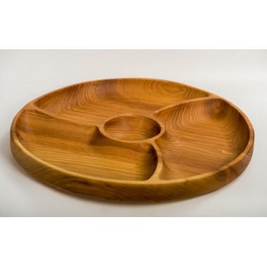 Менажница деревянная тарелка з соусником 3 сектора 360 мм Eripro Roller для дома пикника HoReCa Original (20201034)